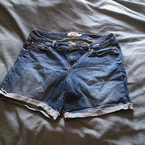 Torrid Rolled Cuff Medium Wash Jean Shorts
